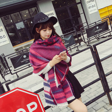 New thickening retro scarf Women winter wild national wind shawl Dual - use warm student collar