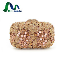 Winter Fashion Women Beautiful Flower Crystal Box Evening Bags Small Party Handbags Wedding Purse Ladies Day Clutches Gold