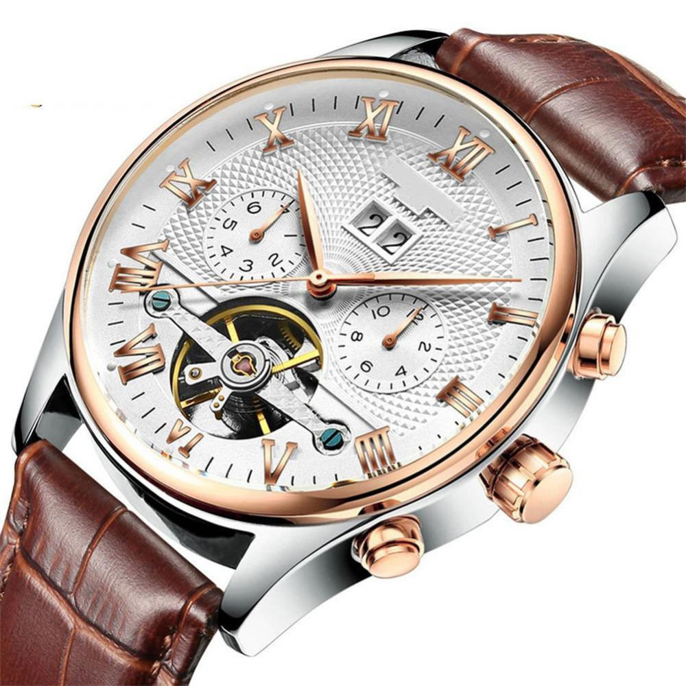 Luxury Men Waterproof Automatic Tourbillon-hollow Mechanical Quartz Watch Fashion Business Leather strap WristWatch Casual Clock<br>