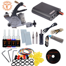 Professional Tattoo Kit 4 Colors Tattoo Ink Sets 10 Coils Guns Machine Power Set Needles Beginner Permanent Makeup Supplies