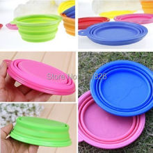 Hot Sale Fashion Pet Dog Cat Collapsible Silicone Feeding Water Feeder Travel Bowl Dish(China)