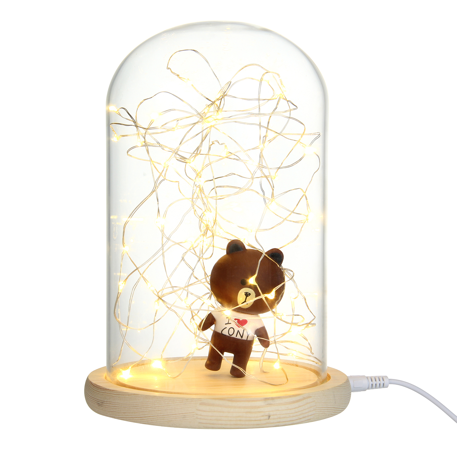 Creative Glass Dome Bell Jar Display Wooden Base with LED Light Warm Fairy Starry String Lights Desk Ornament for Home Decor 9