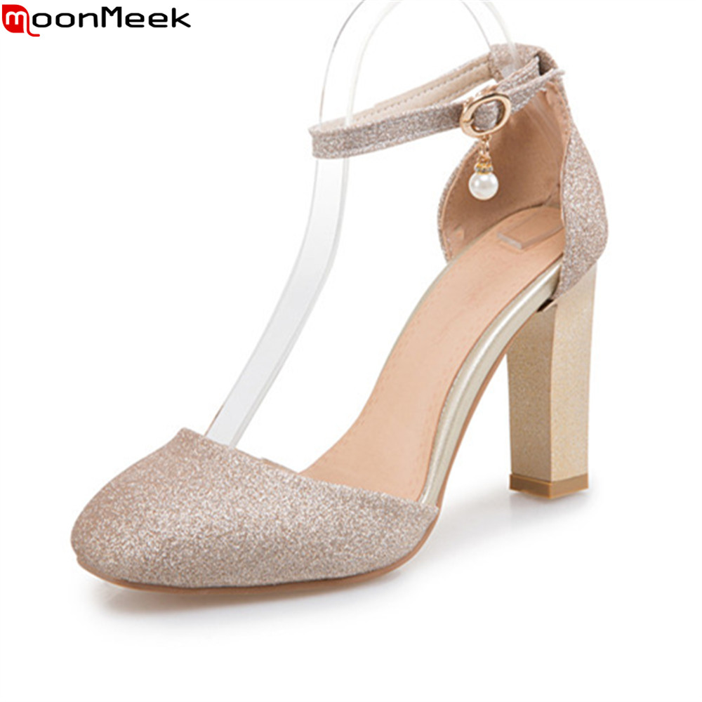MoonMeek 2018 spring summer women pumps round toe female shoes high heels with buckle sweet dress simple ladies shoes<br>