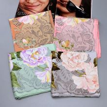 Lace Floral Print 100% Silk Twill Scarf ,Women's Temperament Square 90 Silk Scarves Shawl Wraps for Spring Autumn Gifts
