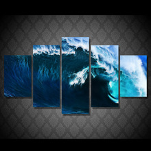Wall Art Canvas Painting 2017 Hot Sale Modular Pictures Hawaii Waves Ocean Wall Pictures For Living Room HD Cuadros Decor Poster