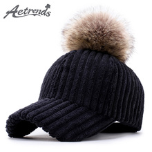 [AETRENDS] New Winter Popular Corduroy Baseball Cap Women Casual Black Pompom Cap 2017 Elegant Female Hat Z-6091()