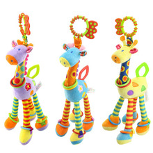 Quality deer plush toys bed baby mobile hanging baby rattles toy giraffe with bell ring infant teether Toys gift(China)