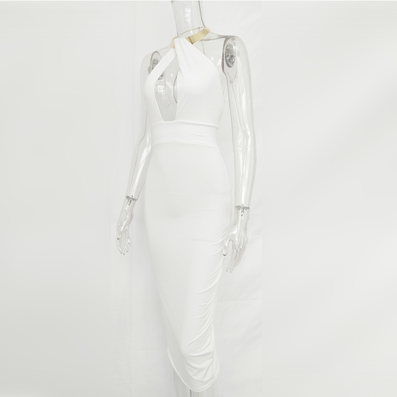 Articat Hollow Out Party Bodycon Bandage Dress Women 17 Off Shoulder Choker Long Pencil Dress Sexy Backless Split Winter Dress 21