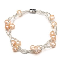 QCOOLJLY High Quantity Charm Bracelets Silver Color Simulated Pearl Crystal Beads Bangle Wedding Jewelry Accessories Gift(China)