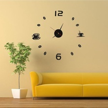 NOCM Hot Coffee Tea Cup 3D Wall Clock Quartz Battery Room Home Kitchen Cafe Decoration black red(China)