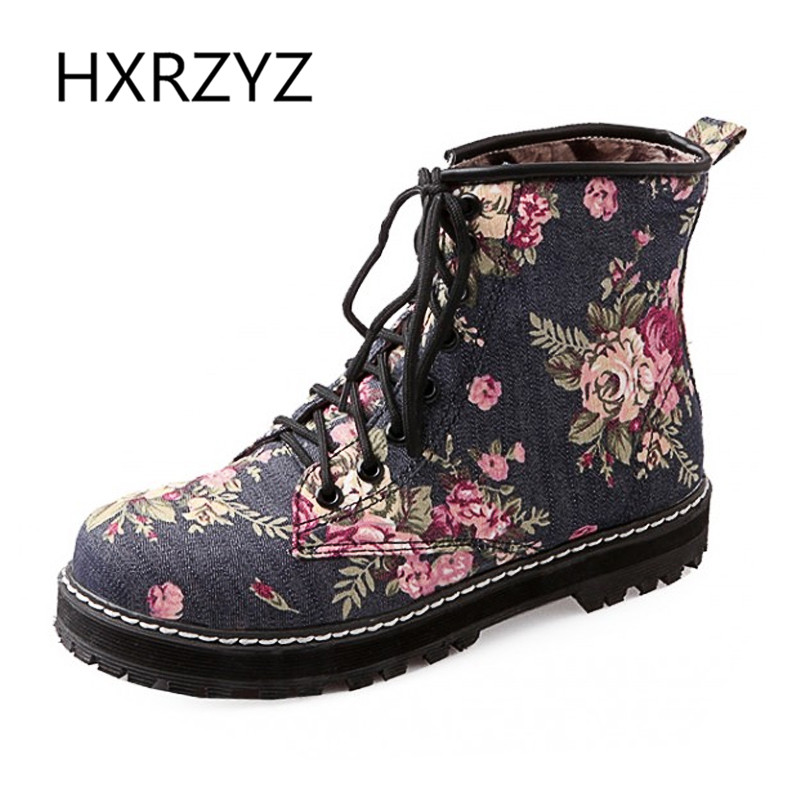Spring Autumn Fashion Womens Shoes Floral Ankle Boots Women Flat Heel Boots Cowboy Martin Boots Winter Boots Large Size 40-43<br>