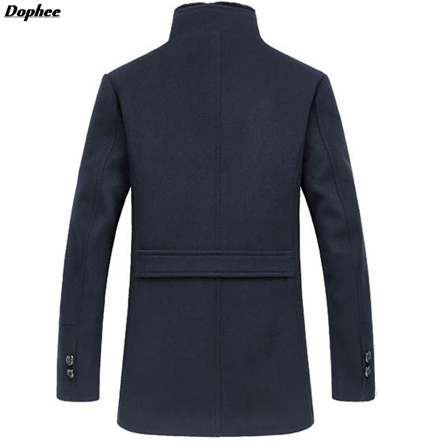 Dophee 2017 Autumn And Winter New Men's Wool Coat Cotton Padded Thick Woolen Blended Outerwear Jacket With Rabbit Fur Collar