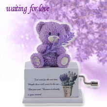 Hand crank music box romantic purple bear armed with lavender music box gifts for lovers birthday gifts