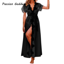 Sexy Women Lace Casual Kimono Party Long Loose Dress Satin Maxi Robes Gown Lace Up Robe Dress Pareo Bathrobe Dress Cardigan Belt(China)