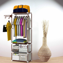Steel wardrobe Creative fashion hangers Easy assembly Put the things Shelf coat rack