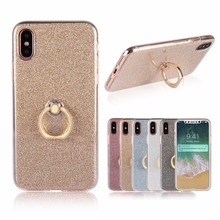 For iPhone X Case Transparent Soft TPU+Glitter Bling Metal Ring Back Cover For Apple iPhone 10 Fashion Combo Phone Case Coque(China)