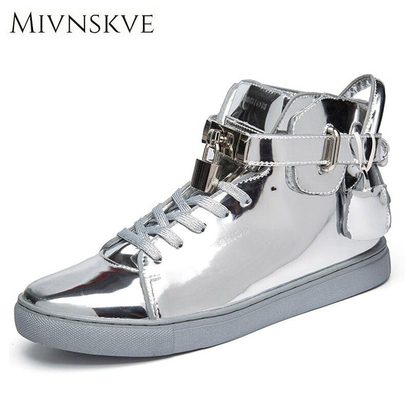MIVNSKVE Brand New Men Casual Shoes Flats Men High Top Shoes Fashion Hip Hop Leather Shoes Men Sliver Pink Unisex Footwear<br>