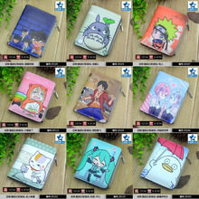 Student Short Coin Purse Anime Conan/Totoro/Miku/Gintama/Naruto/One Piece etc Embossed Zero Change Wallet with Magnetic Button