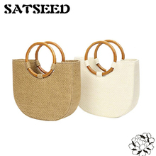 Doota Chic Wind Ring Wooden Handle Handbag Shoulder Bag Handbag Woven Straw Beach 2017(China)