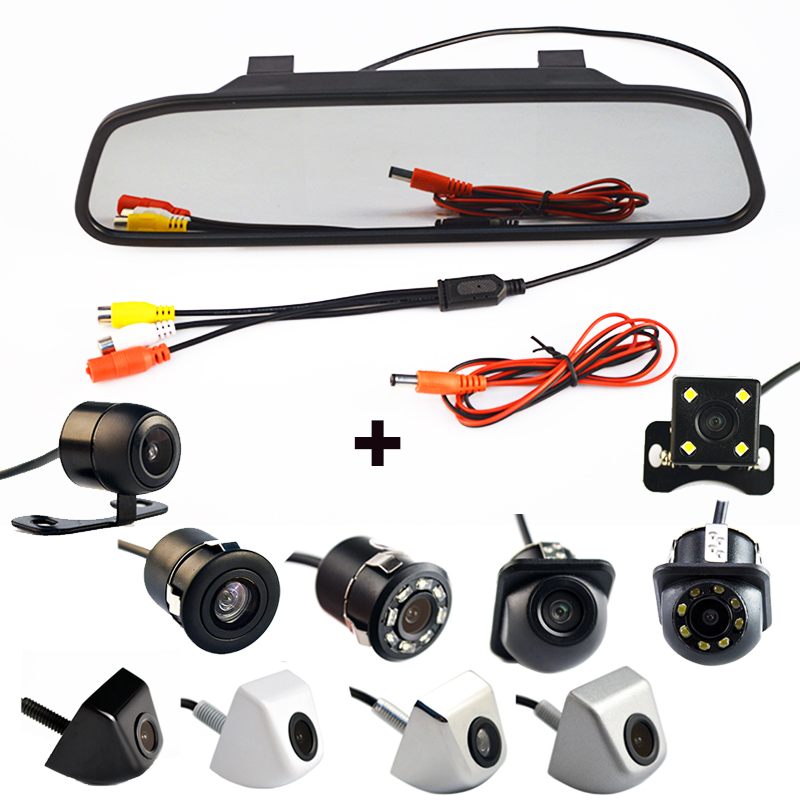 4.3 Inch Auto Parking System HD Car Rearview Mirror Monitor with 170 Degrees Waterproof rear view camera(China)