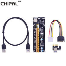 CHIPAL 60CM PCI Express 1X to 16X Extender PCI-E Riser Card + USB 3.0 Cable / SATA to 4Pin Power Cord for Bitcoin Miner Mining(China)