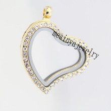 Lowest price  10pcs best quality PVD gold curved heart czech crystal crystal glass locket for floating charms