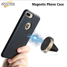 KISSCASE Stickers Leather Case For iPhone 7 8 Case Cloth Grain TPU+PC Magnetic Car Holder Cover Coque For iPhone 7 8 Plus Capa(China)