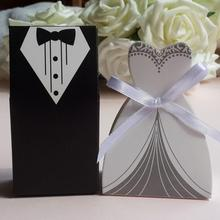 Hot Sale 50 Pcs/set Wedding Gifts Case Bride&Groom Tuxedo Dress Gown Ribbon Wedding Favor Candy Box Wedding Party Decor