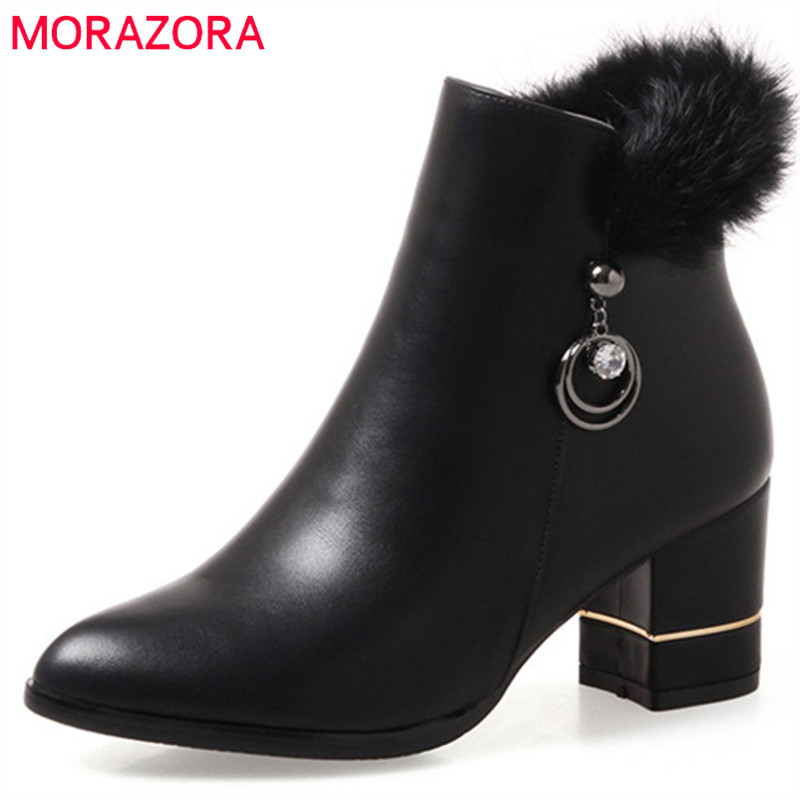 MORAZORA 2018 Autumn boots female new arrive womens boots high heels shoes woman fashion ankle boots party PU solid zip<br>
