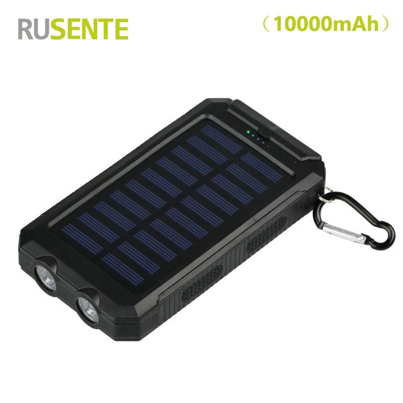 High quality Travel Portable Waterproof 10000mah Solar Power Bank 2 USB External Solar Panel Charging with Dual LED Light