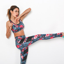 Flowers Print Women Yoga Sets 2Pcs  Fitness Bra+Pants Leggings Set Gym Workout  Sports Wear Mesh Patchwork  Running Clothing