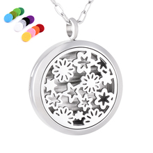 IJP0131 Top Popular Babysbreath Aromatherapy Essential Oil Diffuser Round Perfume Locket Aroma Pendant Necklace for Women or Men