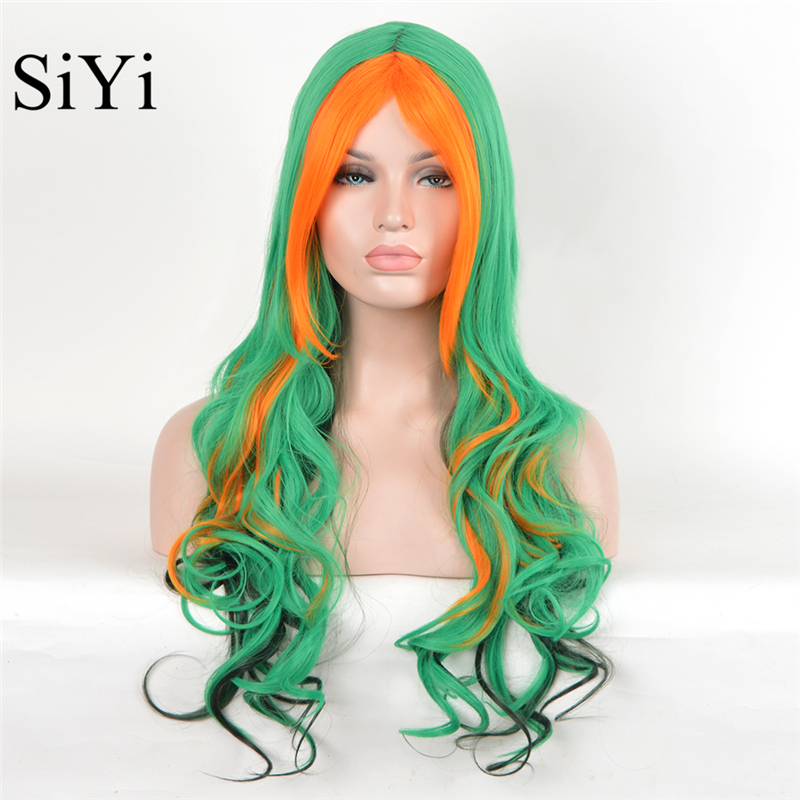 Cosplay Wig New Styles Short Wavy Ombre Green To Orange Synthetic Wigs Rainbow Peruca Jant Wigs For Black Women<br><br>Aliexpress