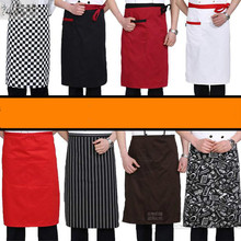 Unisex Hotel Kitchen Cooking Hotel Restaurant Chef Aprons Chef Uniforms Waiter Waist Apron Stripe Half Apron with 1 Pockets 89(China)