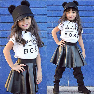 2Pcs Kids Baby Girls Mini Boss Letter White Short Sleeve Shirt Black leather Skirt Clothing Set Children Clothes Outfits 1-6T<br><br>Aliexpress