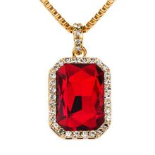 Red Pendant Necklace New Mens Faux 29 Inch Box Chain Hip Hop Jewelry Birthday Gift Dropshipping Sept19