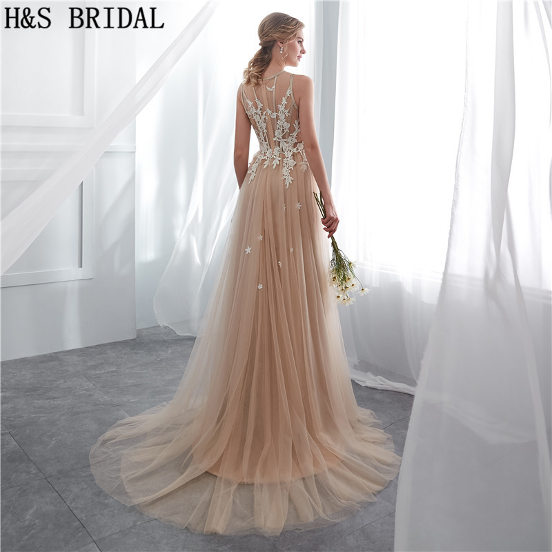 H S BRIDAL Champagne summer beach wedding dresses sweep train simple cheap wedding  gowns 2018 vestidos de novia. 24a 24b 24e 24f 24g ... d558bd6a7d7c