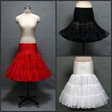 New Knee Length Petticoat Tutu Skirt Red White Black Two Layer Petticoats For Wedding Dress Girls Underskirt Petticoat