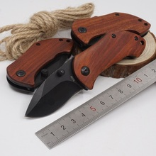 12Pcs/Lot Folding Knife DA33 Tactical Outdoor Camping Survival Knife Wood Handle 440C Blade Steel Pocket Knives EDC Multitool(China)