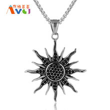 Vintage Black Crystal Sunflower Pendant Necklace Titanium Steel Solar Deity Jewelry For Men Box Chain Punk Necklace E103(China)