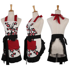 1Pcs Red Flower White Black Apron Woman Adult Bibs Home Cooking Baking Coffee Shop Cleaning Aprons Kitchen Accessories 46037(China)