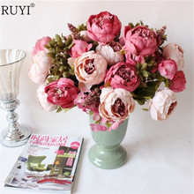 Silk peony Flowers Bouquet Artificial Fall Vivid Peony Wedding Home Party Decoration Fake Leaf  European