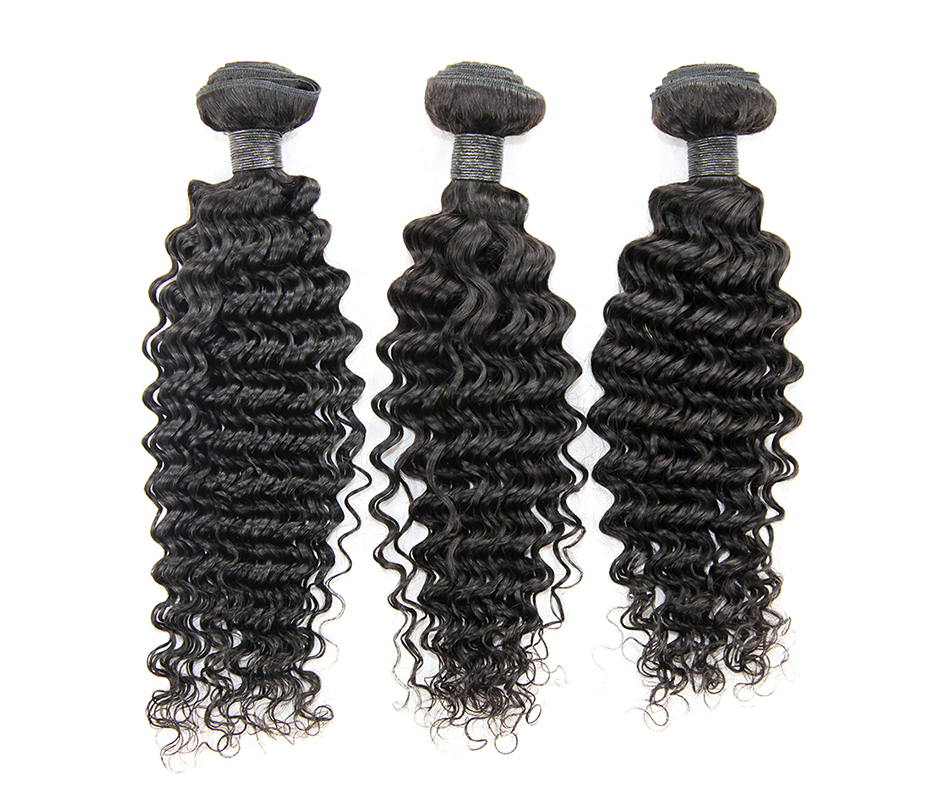 Alimice Hair Brazilian Deep Wave Hair Bundles Natural Color 100% Human Hair Weave 10-26inch Non-Remy Hair Free Shipping