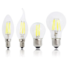 E27 Retro Edison Glass 220V Lamp E14 LED Filament Dimmable 4W 8W 12W 16W Bulb Replace Halogen Candle Light Chandeliers