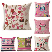 45cm*45cm Pink Theme Owl pattern linen cotton pillow case sofa cushion cover character pattern square decorative pillow cover