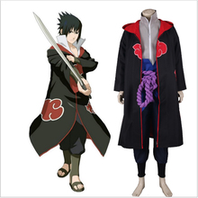 Anime Naruto Cosplay Costume Cloak Akatsuki Uchiha Sasuke Cosplay Halloween Party Costume Hooded Robe S-XXL