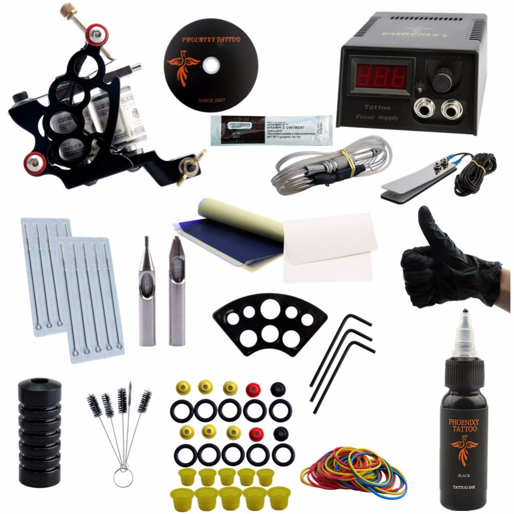 Tattoo Machine Set Kits Black Ink Pigment Sets Power Supply Needles Cheap Beginner Supplies Tattoo for Body<br>
