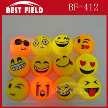 Free shipping 12pcs/lot 5.5cm rubber led bouncy ball Popular Emoji Light Up LED Flash Rubber Bouncy Balls for Party Fun