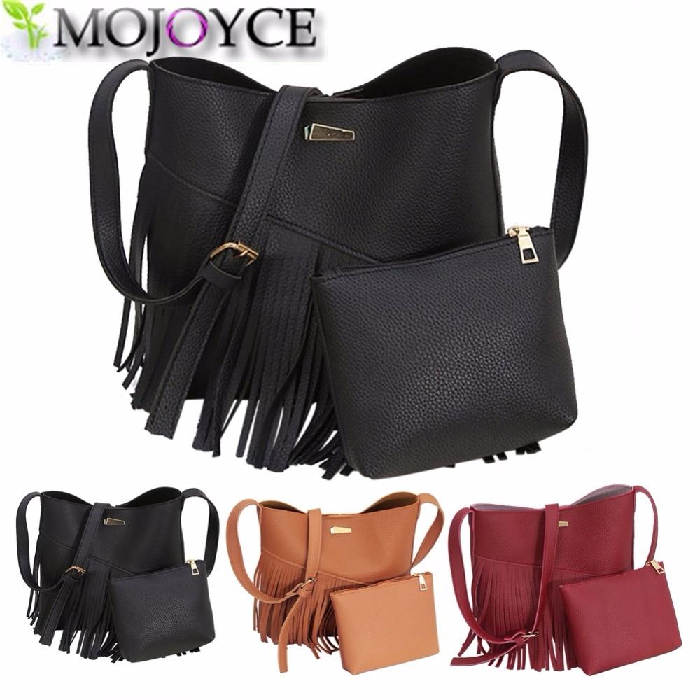 Crossbody Bag For Women Handbags Small Bucket Bags Ladies 2017 PU Leather Women Shoulder Messenger Bags Female Tassel 2 Set <br><br>Aliexpress
