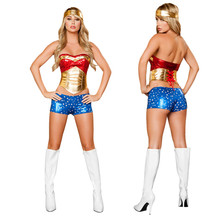 New Sexy halloween costumes for women gold red patchwork white star blue shorts gold coverchief Superhero wonder woman costume